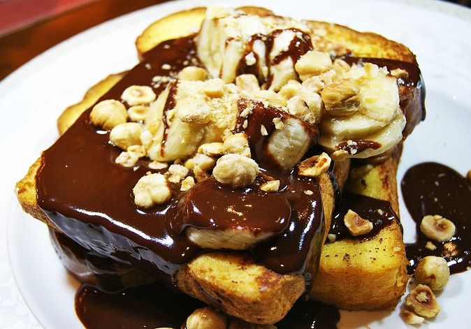 Chocolate and Banana French Toast with Macadamia Nuts