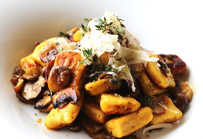 Carrot Gnocchi with Mixed Mushrooms