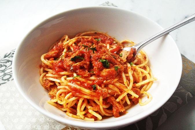 resep makanan kaleng - spaghetti tuna